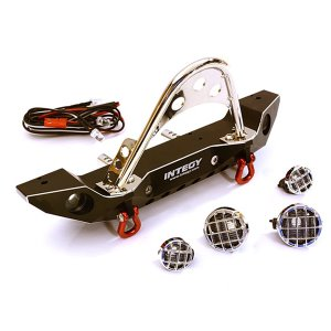 Realistic Alloy Machined Scale Front Bumper w/LED Lights for Axial 1/10 SCX10 II C27656BLACK