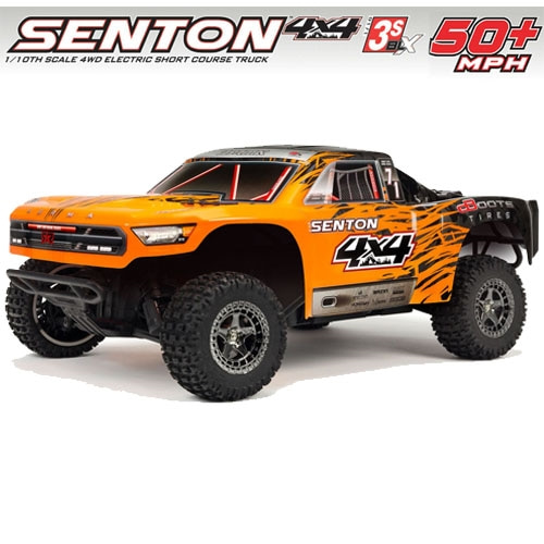 (신형 3셀지원 브러시스버전) ARRMA 1/10 SENTON 3S BLX 4WD Brushless Short Course Truck with Spektrum RTR, Orange/Black