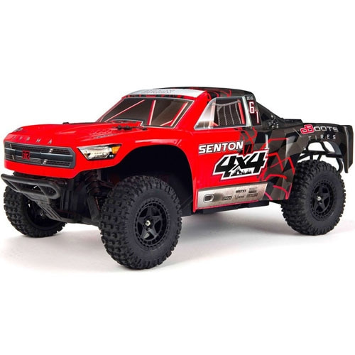 신형 ARRMA 1/10 SENTON MEGA 550 Brushed 4WD Short Course Truck RTR, Red/Black