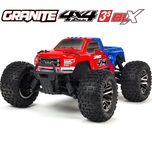 (신형 3셀지원 브러시스버전)ARRMA 1/10 GRANITE 3S BLX 4WD Brushless Monster Truck with Spektrum RTR, Red/Blue