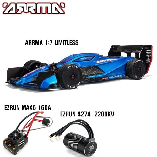(모변콤보+키트 한정수량 6S 버전) ARRMA 1:7 LIMITLESS All-Road Speed Bash: Roller+EZRun MAX6 160A ECS/EZRun 4274 2200kv Motor Combo