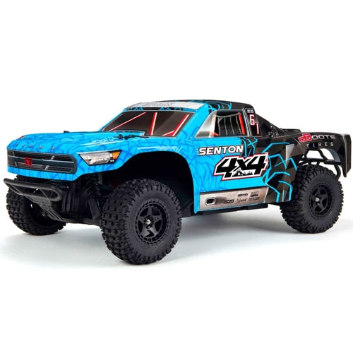 신형 ARRMA 1/10 SENTON MEGA 550 Brushed 4WD Short Course Truck RTR, Blue/Black