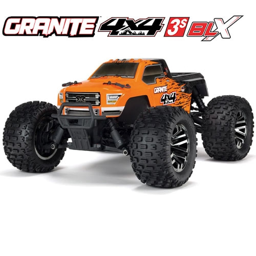 (신형 3셀지원 브러시스버전) 1/10 GRANITE 3S BLX 4WD Brushless Monster Truck with Spektrum RTR, Orange/Black
