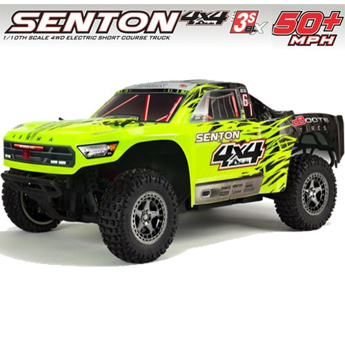 (신형 3셀지원 브러시스버전) ARRMA 1/10 SENTON 3S BLX 4WD Brushless Short Course Truck with Spektrum RTR, Green/Black