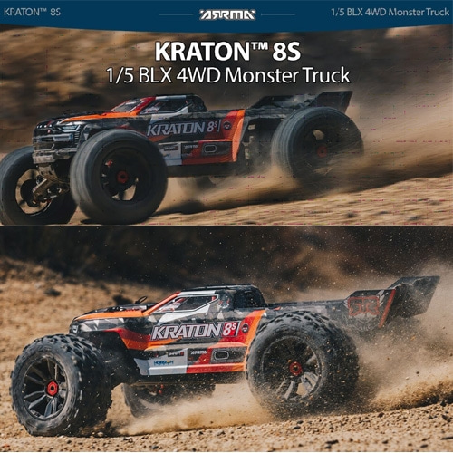 입고완료 1/5 KRATON 4X4 8S BLX Brushless Speed Monster Truck RTR, Orange 크라톤 8S│크라톤 8셀