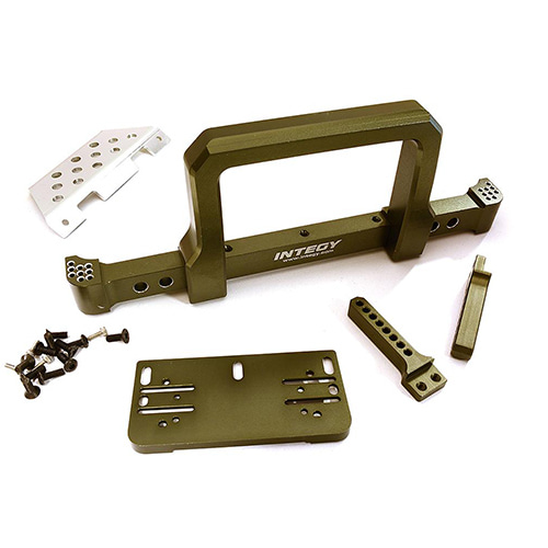 Realistic Front Alloy Bumper w/ Motorized Winch Mount for Traxxas TRX-4 Defender C28483GUN