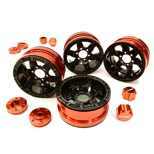 Billet Machined 6 Spoke Wheels w/ 6 Bolt S-Adapters for Most Scale Crawler C26877ORANGE│1.9 메탈 비드락휠