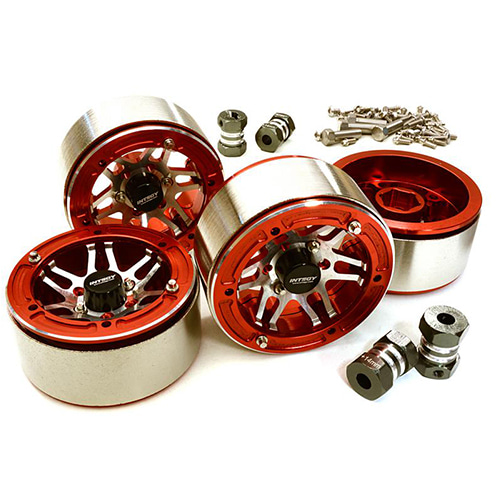Machined High Mass Wheel (4) w/14mm Offset Hubs for 1/10 Scale Crawler C27031RED│1.9 메탈 비드락휠