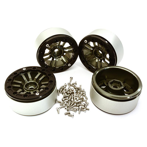 Billet Machined 12 Spoke Wheels for Traxxas TRX-4 Scale & Trail Crawler C28150BLACKGUN│1.9 메탈 비드락휠