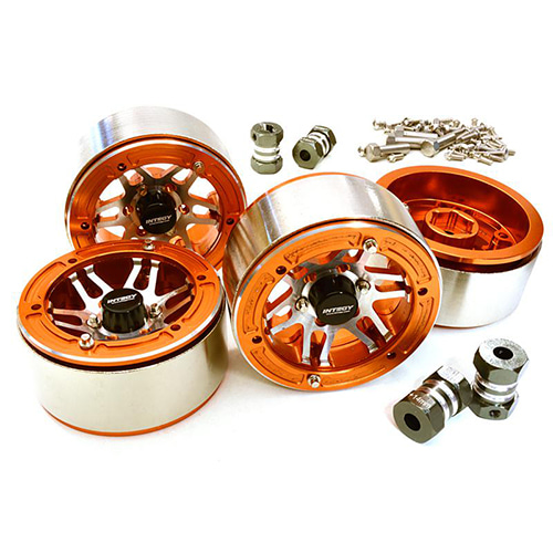 Machined High Mass Wheel (4) w/14mm Offset Hubs for 1/10 Scale Crawler C27031ORANGE│1.9 메탈 비드락휠