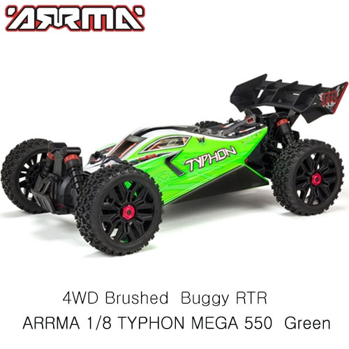 ARRMA 1:8 TYPHON MEGA 550 Brushed 4WD Speed Buggy RTR, Green 버기RC카