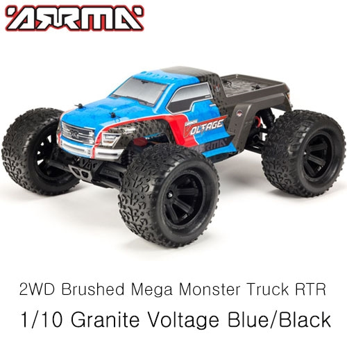 (조종기,충전기,배터리 포함 풀세트버전)ARRMA 1/10 Granite Voltage 2WD Brushed Mega Monster Truck RTR, Blue/Black │입문용RC카