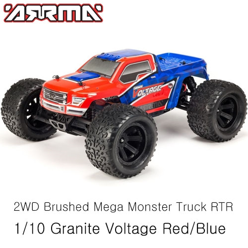 (조종기,배터리 포함)ARRMA 1/10 Granite Voltage 2WD Brushed Mega Monster Truck RTR, Red/Blue│입문용RC카