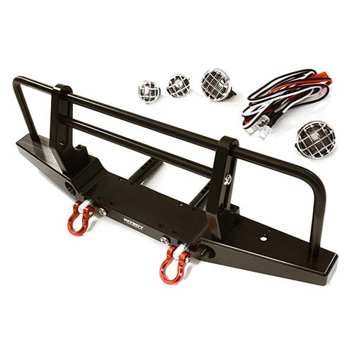 입고완료-Realistic Front Alloy Bumper w/ LED for Traxxas TRX-4 w/ 43mm Mount (Black) TRX4 디펜더메탈범퍼