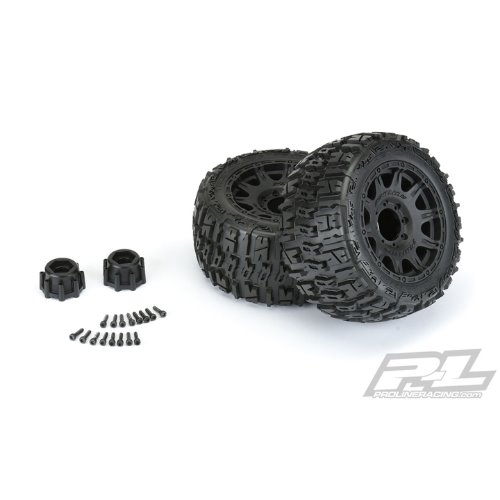 "2020-NEW AP10175-10 Trencher LP 3.8"" All Terrain Tires Mounted on Raid Black 8x32 Removable Hex Wheels (2) for 17mm MT Front or Rear"