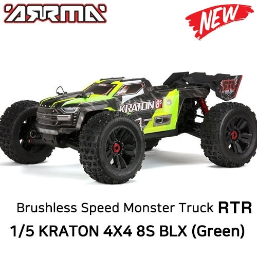 당일출고 [DX3 조종기포함 버전] ARRMA 1/5 KRATON 4X4 8S BLX Brushless Speed Monster Truck PNR, Green