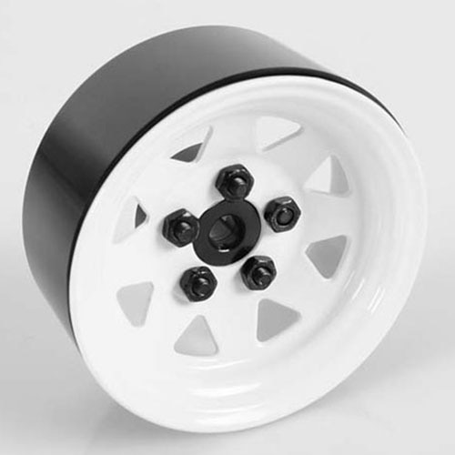 "[#Z-W0127] [4개 한대분] 5 Lug Wagon 1.9"" Steel Stamped Beadlock Wheels (White)"