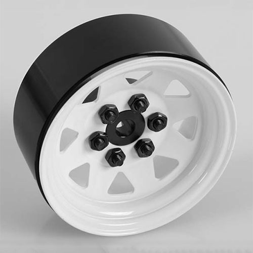 "[#Z-W0128] [4개 한대분] 6 Lug Wagon 1.9"" Steel Stamped Beadlock Wheels (White)"