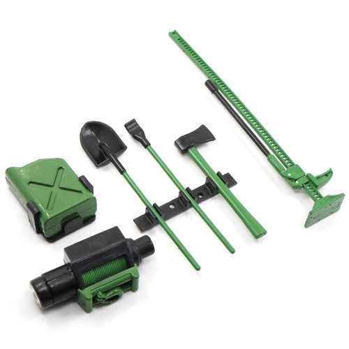 [#YA-0356GN] 1/10 RC Crawler Scale Accessory Tool Set Axes Digging Shovel Oil Tank High Jack Winch Pry Bar Green
