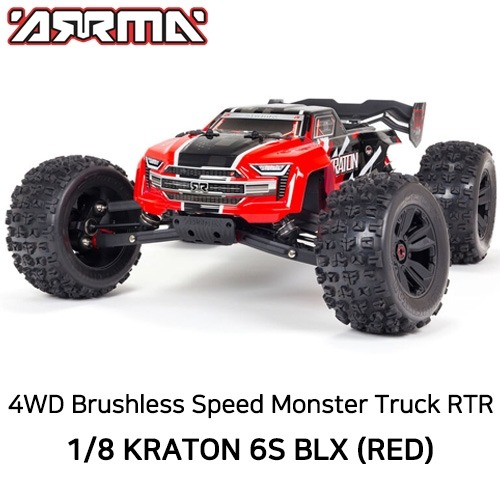 V5 ARRMA 1:8 KRATON 6S V5 4WD BLX Speed Monster Truck with Spektrum Firma RTR, Red
