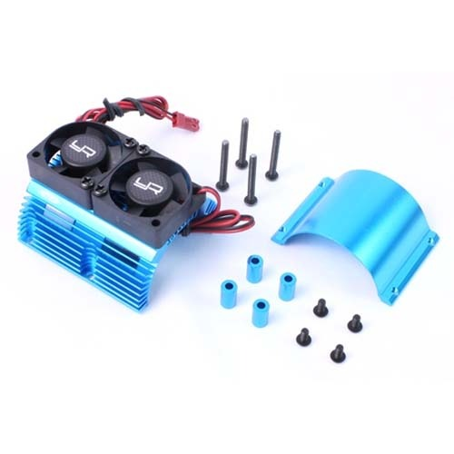 [#YA-0261BU] Heat Sink with Twin Tornado High Speed Fans sets for 1:8 Motors with around 40.8mm diameter (Blue)